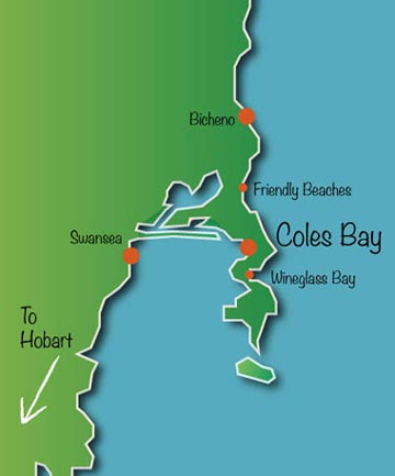 Map of Freycinet including Coles bay Wineglass bay Bicheno Great oyster bay etc