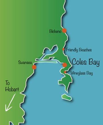 Map of Freycinet including Coles bay Wineglass bay Bicheno Great oyster bay etc