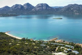 Flying over Freycinet Tasmania
