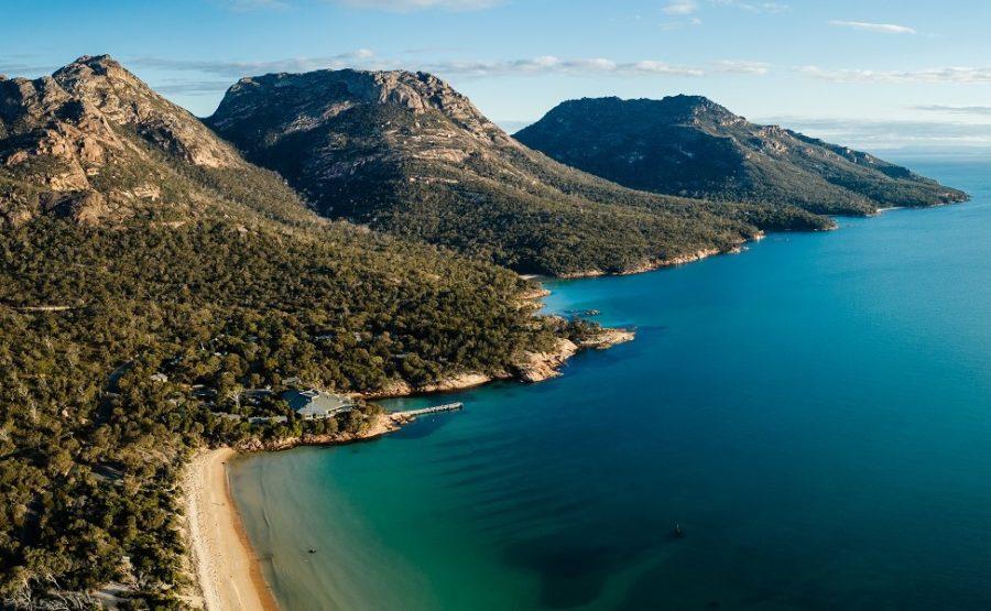 wineglass bay, hazards mountain range, freycinet, east coast tasmania