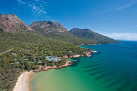 Freycinet Lodge With THe Hazards Behind