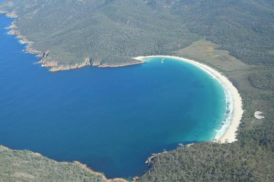 Freycinet air plane view of Wineglass bay Tasmania